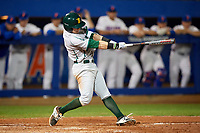 Siena Saints center fielder Brendan Conley (1) at bat during a game against the Florida Gators on February 16, 2018 at Alfred A. McKethan Stadium in Gainesville, Florida.  Florida defeated Siena 7-1.  (Mike Janes/Four Seam Images)