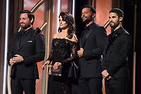 Edgar Ramirez, Penelope Cruz, Ricky Martin and Darren Criss present the award for Best Actor in a Mini Series or a TV Movie at the 75th Annual Golden Globe Awards at the Beverly Hilton in Beverly Hills, CA on Sunday, January 7, 2018.<br /> *Editorial Use Only*<br /> CAP/PLF/HFPA<br /> &copy;HFPA/PLF/Capital Pictures