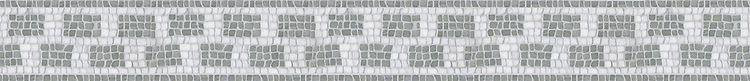 """4 3/8"""" Vela border, a hand-chopped stone mosaic, shown in tumbled Thassos and Verde Luna."""