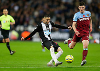 2nd November 2019; London Stadium, London, England; English Premier League Football, West Ham United versus Newcastle United; Miguel Almiron of Newcastle United taking a shot on goal - Strictly Editorial Use Only. No use with unauthorized audio, video, data, fixture lists, club/league logos or 'live' services. Online in-match use limited to 120 images, no video emulation. No use in betting, games or single club/league/player publications