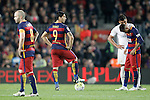 FC Barcelona's Andres Iniesta, Luis Suarez and Neymar Jr dejected during La Liga match. April 2,2016. (ALTERPHOTOS/Acero)