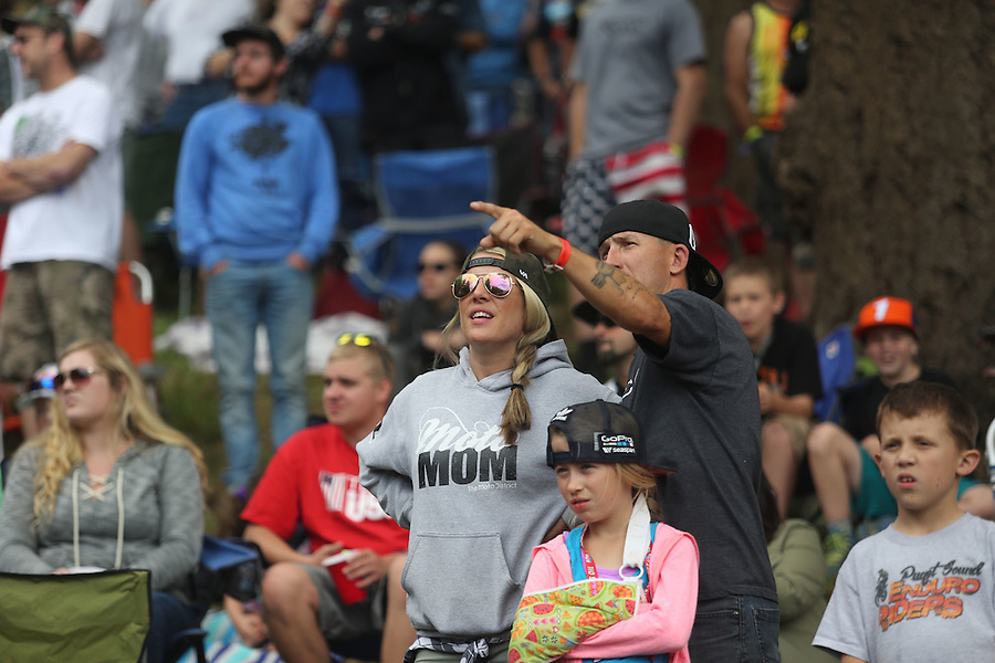 Spectators watch the 450cc race in the Washougal MX National in Washougal Saturday July 23, 2016. D(Photo by Natalie Behring/ for the The Columbian)
