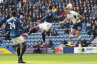 Preston North End's Patrick Bauer directs a header on target despite the attentions of Blackburn Rovers' Ryan Nyambe<br /> <br /> Photographer Rich Linley/CameraSport<br /> <br /> The EFL Sky Bet Championship - Preston North End v Blackburn Rovers - Saturday 26th October 2019 - Deepdale Stadium - Preston<br /> <br /> World Copyright © 2019 CameraSport. All rights reserved. 43 Linden Ave. Countesthorpe. Leicester. England. LE8 5PG - Tel: +44 (0) 116 277 4147 - admin@camerasport.com - www.camerasport.com