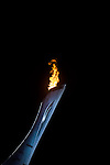 Olympic flame burning against a night sky during the 2014 Sochi Olympic Winter Games at the Olympic Park on February 8, 2014 in Sochi, Russia. Photo by Victor Fraile / Power Sport Images