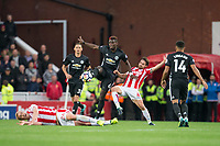 Paul Pogba of Man Utd holds off Joe Allen of Stoke City during the Premier League match between Stoke City and Manchester United at the Britannia Stadium, Stoke-on-Trent, England on 9 September 2017. Photo by Andy Rowland.