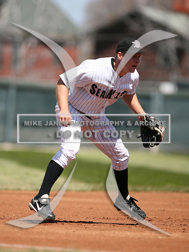2007:  Nick McIntyre of the Erie Seawolves gets ready while playing third base vs. the Bowie Baysox in Eastern League baseball action.  Photo copyright Mike Janes Photography 2007.