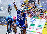 LA UNION - COLOMBIA, 16-02-2019: Julian ALAPHILIPPE (FRA), Deceuninck - Quick Step Floors, durante la quinta etapa del Tour ColomJulian ALAPHILIPPE (FRA), Deceuninck - Quick Step Floors, cruza la línea de meta como ganador de la la quinta etapa del Tour Colombia 2.1 2019 con un recorrido de 176.8 Km, que se corrió con salida y llegada en La Union, Antioquia. / Julian ALAPHILIPPE (FRA), Deceuninck - Quick Step Floors, crosses the finish line as winner of the fifth stage of 176.8 km of Tour Colombia 2.1 2019 that ran with start and arrival in La Union, Antioquia.  Photo: VizzorImage / Anderson Bonilla / Cont