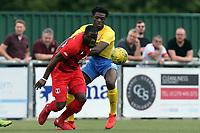 James Alabi of Leyton Orient and Miles Mitchell-Nelson of Harlow Town during Harlow Town vs Leyton Orient, Friendly Match Football at The Harlow Arena on 6th July 2019