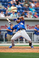 Biloxi Shuckers shortstop Orlando Arcia (2) gets hit by a pitch during the first game of a double header against the Pensacola Blue Wahoos on April 26, 2015 at Pensacola Bayfront Stadium in Pensacola, Florida.  Biloxi defeated Pensacola 2-1.  (Mike Janes/Four Seam Images)