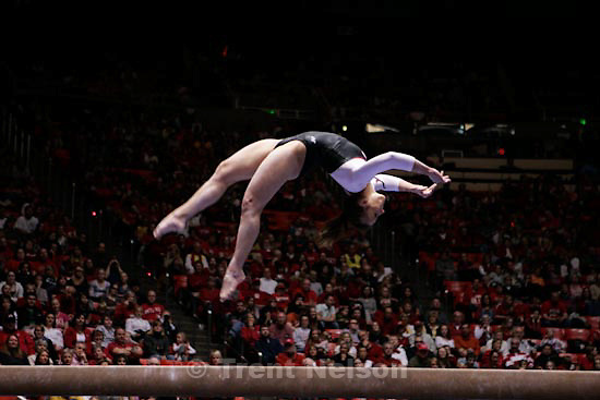 Trent Nelson  |  The Salt Lake Tribune.Salt Lake City - Utah vs. BYU college gymnastics Friday, March 26, 2010. Utah's Daria Bijak on the beam