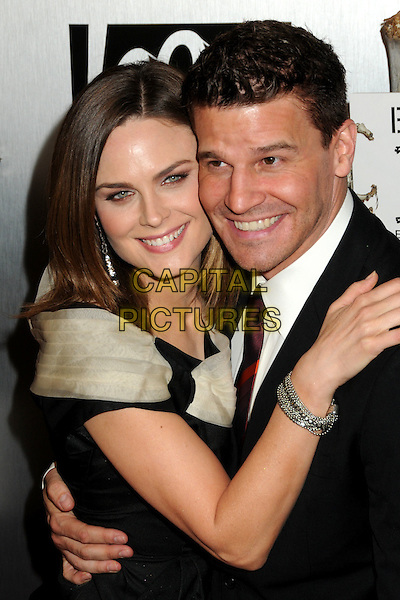 "EMILY DESCHANEL & DAVID BOREANAZ.""Bones"" 100th Episode Celebration held at 650 North, West Hollywood, California, USA..April 7th, 2010.half length dress black beige suit jacket smiling silver bracelet .CAP/ADM/BP.©Byron Purvis/AdMedia/Capital Pictures."