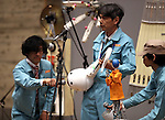 February 19, 2017, Chiba, Japan - Members of Japan's art unit Maywa Denki, Masamichi Tosa (C) and his younger brother Novmichi (L) play music with their unique instrument gadgets for their live performance at the Wonder Festival 2017 Winter at Chiba, suburban Tokyo on Sunday, February 19, 2017. Novmichi Tosa unveiled his new gadget Parabora at the plastic -model trade show.    (Photo by Yoshio Tsunoda/AFLO) LwX -ytd-