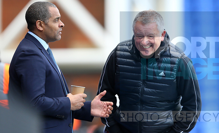 Sheffield United's manager Chris Wilder talks with Mark Bright ahead of the Premier League match at Selhurst Park, London. Picture date: 1st February 2020. Picture credit should read: Paul Terry/Sportimage