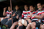 Steelers Tana Umaga, Samisoni Fisilau, David Raikuna, Taiasina Tuifua and Viliami Fihaki relax in the dugout during the later stages of the ITM Cup rugby game between Counties Manukau Steelers and Northland, played at Bayer Growers Stadium, Pukekohe, on Sunday September 26th 2010..The Counties Manukau Steelers won 40 - 24 after leading 27 - 7 at halftime.