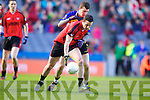 Seanie O'Leary Kenmare in Action against Keith Kelly  Ballinasloe in the Junior All Ireland Club Final in Croke park on Sunday.