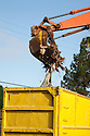 A close up of an excavator shoveling demolition debris of a single family house into a container truck. The materials will be transported to the Zanker Road Landfill where it will be sorted to recyclable wood, concrete, gypsum, and metal waste materials. Cupertino, California, USA