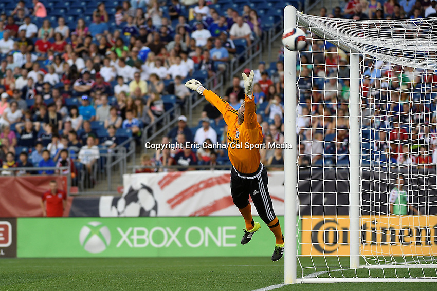 June 13, 2015 - Foxborough, Massachusetts, U.S. - Chicago Fire goalkeeper Jon Busch (18) dives for the ball during the MLS game between Chicago Fire and the New England Revolution held at Gillette Stadium in Foxborough Massachusetts. Eric Canha/CSM