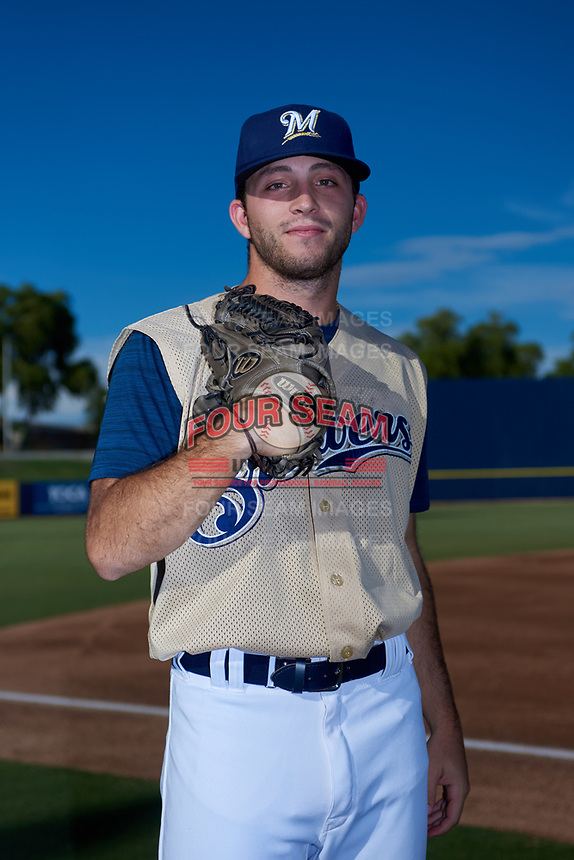 AZL Brewers Gold Josh Shapiro (38) poses for a photo before an Arizona League game against the AZL Brewers Blue on July 13, 2019 at American Family Fields of Phoenix in Phoenix, Arizona. The AZL Brewers Blue defeated the AZL Brewers Gold 6-0. (Zachary Lucy/Four Seam Images)