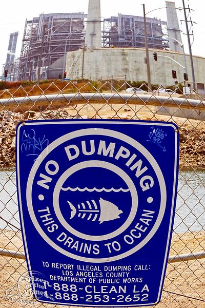 No Dumping sign, AES Power plant, Los Cerritos Channel, Long Beach, California, USA