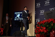 Jameis Winston enters the New York Marriott Marquis ballroom for a media availability after winning the 2013 Heisman Memorial Trophy. Winston became the second freshman in Heisman Trophy history to win the award. As quarterback of the Florida State Seminoles, he led the team to an undefeated season and the ACC championship.  (Photo by Don Baxter/Media Images International)