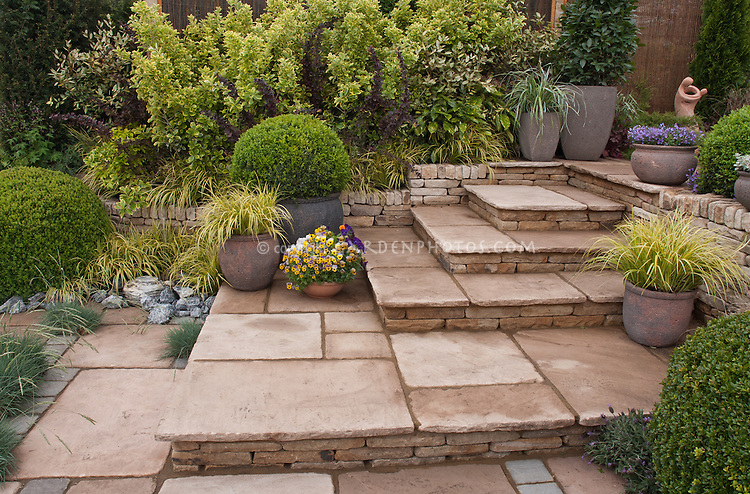 Beautiful Patio Made Of Stone With Steps Plant Flower Stock Custom Container Garden Design Property