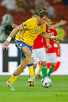 Sweden's Johan Elmander leads the ball during the UEFA EURO 2012 Group E qualifier Hungary playing against Sweden in Budapest, Hungary on September 02, 2011. ATTILA VOLGYI