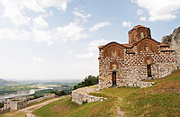 The Hagia Triada Church. View over the valley. Berat upper citadel old walled city. Albania, Balkan, Europe.
