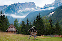 Trenta Valley, Julian Alps, Slovenia, July 2011. Kekceva domacija (Kekec home) lies on a clearing with spectacular views on surrounding mountains just a glimpse away from Soca River source. Slovenia boasts a very spectacular carstic landscape with high limestone rock formations oozing with waterfalls, and fast flowing cristal clear waters that run through the Soca from the Triglav National Park to the Adriatic Sea. Photo by Frits Meyst/Adventure4ever.com