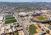 Vista aerea de Complejo deportivo de la Comisión Estatal de Deporte, CODESON en Hermosillo, Sonora....<br /> Estadio Héroe de Nacozari. <br /> CUM. <br /> Campo De Tiro Con Arco.<br /> Capos Deportivos de la Liga Oxxo.<br /> Boulevard o calle Periferico Norte<br /> <br /> <br /> Photo: (NortePhoto / LuisGutierrez)<br /> <br /> ...<br /> keywords: