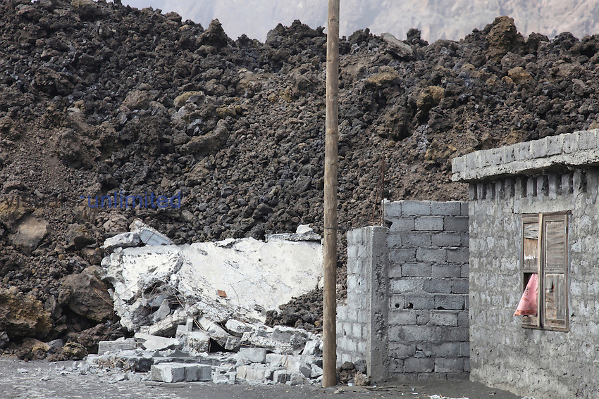 Aa lava flow from Fogo Volcano burying a building, Portela, Cape Verde