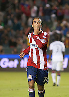 Chivas USA midfielder Rodolfo Espinosa (24) celebrates his goal during the second half of the game between Chivas USA and Toronto FC at the Home Depot Center in Carson, CA, on October 9, 2010. Final score Chivas USA 3, Toronto FC 0.