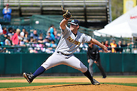 Jeremy Bleich (29) of the Trenton Thunder delivers a pitch during a game against the New Britain Rock Cats at New Britain Stadium on Mat 7, 2014 in New Britain, Connecticut.  Trenton defeated New Britain 6-4.  (Gregory Vasil/Four Seam Images)