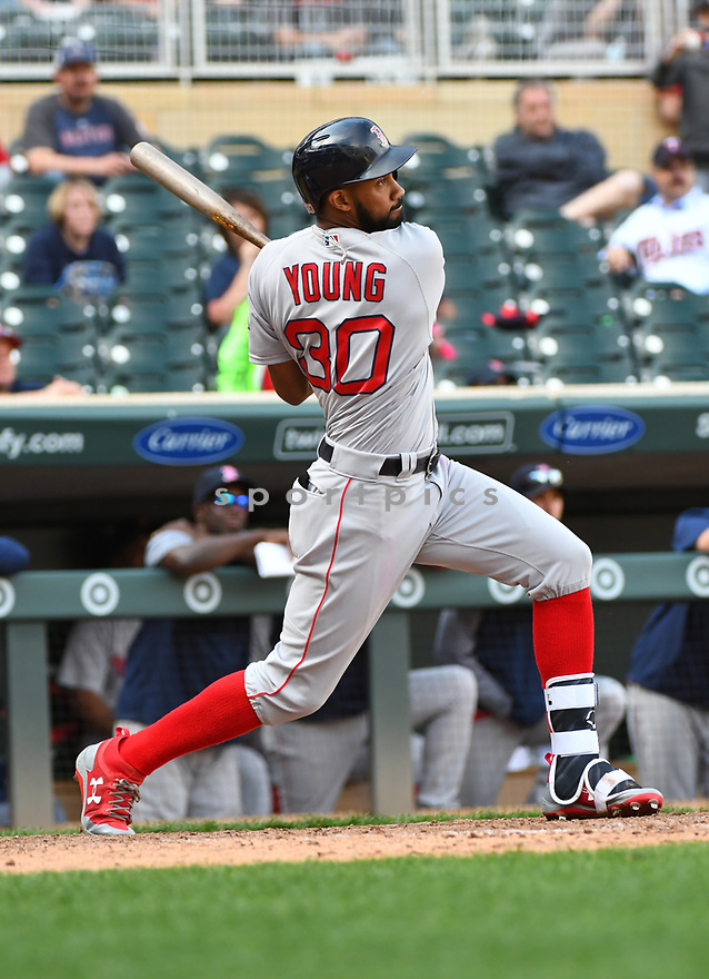 MINNEAPOLIS MN - May 7, 2017: Chris Young #30 of the Boston Red Sox during a game against the Minnesota Twins on May 7, 2017 at Target Field in Minneapolis, MN. The Red Sox beat the Twins 17-6.(David Durochik/ SportPics)