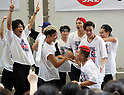 "July 23, 2017, Chiba, Japan - Members of Japanese pop group ""The Rampage from Exile Tribe"" try to play wheelchair basketball at a promotional event of Paralympic sports at a shopping mall in Chiba, suburban Tokyo on Sunday, July 23, 2017. People try to play Paralympic sports such as wheelchair basketball and wheelchair rugby with Paralympic athletes at the event sponsored by Japan Airlines (JAL).   (Photo by Yoshio Tsunoda/AFLO) LwX -ytd-"