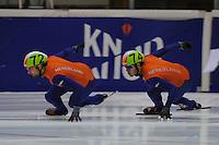 SCHAATSEN: HEERENVEEN: IJsstadion Thialf, 30-09-2012, Shorttrack, Invitation Cup, Niels Kerstholt (#72), Sjinkie Knegt (#74), ©foto Martin de Jong
