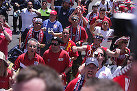 United States Men's National team fans cheer and chant as they enter Azteca stadium under police escort. The United States Men's National Team played Mexico in a CONCACAF World Cup Qualifier match at Azteca Stadium in, Mexico City, Mexico on Wednesday, August 12, 2009.