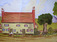BNPS.co.uk (01202 558833)<br /> Pic: Strutt&amp;Parker/BNPS<br /> <br /> Bogarde's teenage drawing of the house.<br /> <br /> A former 16th century shepherd's cottage that was the childhood home of 50s matinee idol Dirk Bogarde is now an idyllic country retreat for anyone who wants to get away from it all.<br /> <br /> The distinguished film actor and writer, star of Doctor in the House (1954), The Servant (1963) and A Bridge Too Far (1977), lived at Winton Fields as a teenager with his parents and siblings during holidays from his school in Scotland.<br /> <br /> The pretty flint house is on the edge of the highly sought after and picturesque village of Alfriston, East Sussex, and has stunning views of the South Downs National Park.<br /> <br /> It is now on the market with Strutt &amp; Parker for a guide price of &pound;950,000.