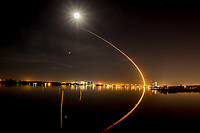 Falcon 9 night launch , time exposure, March 6, 2018. (Photo by Brian Cleary/bcpix.com)