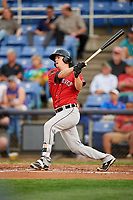 Erie SeaWolves catcher Jake Rogers (7) follows through on a swing during a game against the Binghamton Rumble Ponies on May 14, 2018 at NYSEG Stadium in Binghamton, New York.  Binghamton defeated Erie 6-5.  (Mike Janes/Four Seam Images)