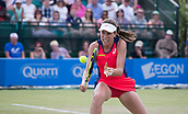June 18th 2017, Nottingham, England; WTA Aegon Nottingham Open Tennis Tournament day 7 finals day;  Backhand volley from Johanna Konta of Great Britain in her match with Donna Vekic of Croatia