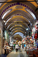 Grand Bazaar, 15th century, Istanbul, Turkey. The Grand Bazaar, containing two bedestens (storage domes) is one of the largest and oldest covered markets in the world, selling jewellery, pottery, spice, and carpets. It was restored in the 16th and 19th centuries. Picture by Manuel Cohen.