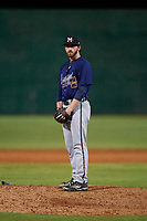Mississippi Braves pitcher Connor Johnstone (24) during a Southern League game against the Jackson Generals on July 23, 2019 at The Ballpark at Jackson in Jackson, Tennessee.  Mississippi defeated Jackson 1-0 in the second game of a doubleheader.  (Mike Janes/Four Seam Images)