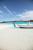 EXUMA, Bahamas. Anchoring the boat off a sandbar close to Musha Cay.
