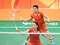 Ayaka Takahashi & Misaki Matsutomo (JPN), AUGUST 15, 2016 - Badminton : Women's Doubles Quarter finals at Riocentro - Pavilion 4 during the Rio 2016 Olympic Games in Rio de Janeiro, Brazil. (Photo by Enrico Calderoni/AFLO SPORT)