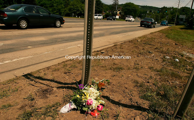 BLOOMFIELD, CT - 30 JULY 2005 -073005JS05-- Flowers were placed on side of the road where a multiple fatal accident occured in Avon.   --Jim Shannon Photo--Avon,   are CQ