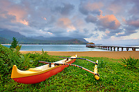 Canoe on Hanalei Bay at sunrise. Kauai, Hawaii