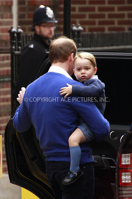 WWW.ACEPIXS.COM<br /> <br /> May 2 2015, London<br /> <br /> Prince William, Duke of Cambridge leaving the Lindo Wing his son George at St Mary's Hospital on May 2, 2015 in London, England. <br /> <br /> <br /> By Line: Famous/ACE Pictures<br /> <br /> <br /> ACE Pictures, Inc.<br /> tel: 646 769 0430<br /> Email: info@acepixs.com<br /> www.acepixs.com