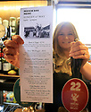 11/05/14<br /> <br /> Landlady, Denise Sage shows off her menu.<br /> <br /> The Exeter Arms, Exeter Street, running a match day menu.<br /> <br /> All Rights Reserved - F Stop Press.  www.fstoppress.com. Tel: +44 (0)1335 300098