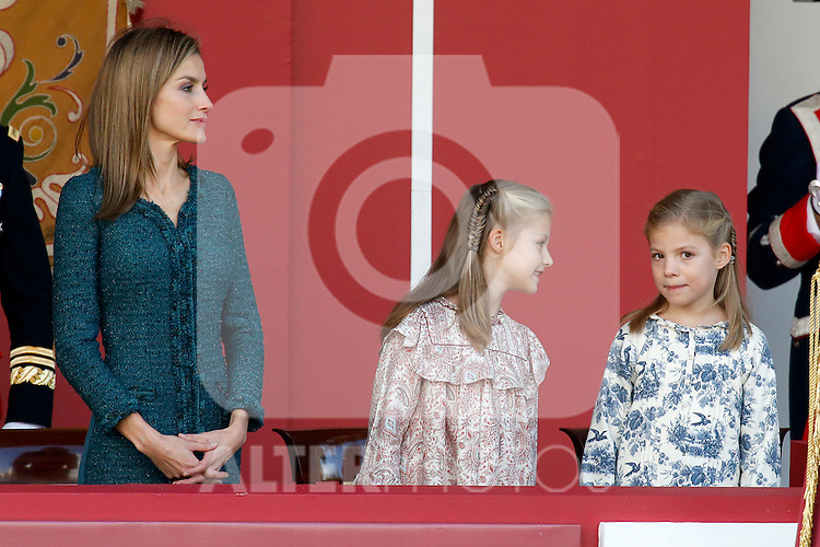 Princess Sofia of Spain (r), Princess Leonor of Spain (c) and Queen Letizia of Spain attend Spain's National Day Military Parade. October 12 ,2014. (ALTERPHOTOS/Pool)