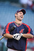 Kelly Shoppach of the Cleveland Indians during batting practice before a game from the 2007 season at Angel Stadium in Anaheim, California. (Larry Goren/Four Seam Images)